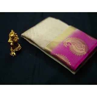 Shivay Tech Cream  Pink Color Tussar Silk Printed Saree -TSRTMANGO-003