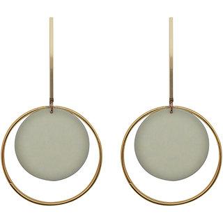 JewelMaze White Acrylic Dangler Earrings - 1314004A