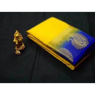 Shivay Tech Yellow  Blue Color Tussar Silk Printed Saree -TSRTMANGO-007