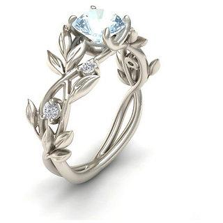 Buy Silver Color Crystal Flower Vine Leaf Design Rings For Women