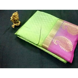 Shivay Tech Green  Pink Color Tussar Silk Printed Saree -TSRTMANGO-013