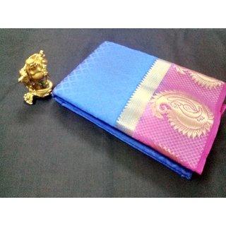 Shivay Tech Blue  Pink Color Tussar Silk Printed Saree -TSRTMANGO-014