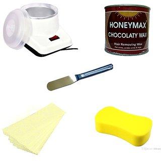 Waxing Kit / Wax Kit Combo Kit Includes (Wax Heater + Aloe Vera WAX + WAX Strips + WAX Knife + Sponge)