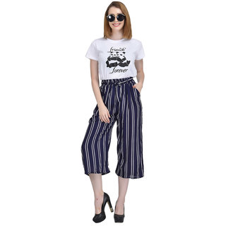 9a701d7a64c0 Buy Code Yellow Women s Navy Blue Ruffle Waist Striped Wide Leg Palazzo  Pants Online   ₹799 from ShopClues