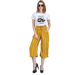 Code Yellow Women's Mustard Yellow Ruffle Waist Striped Wide Leg Palazzo Pants