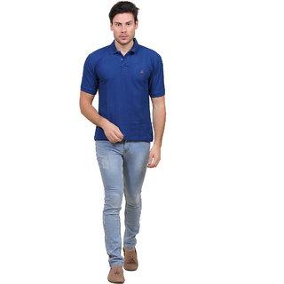 Solid men polo neck blue T shirt T Shirts