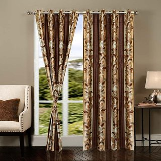 Cloud India 7 Ft Door Supremo Curtains Set of 2 Piece Polyster Living Room  Bed Room Curtains With Attractive Color