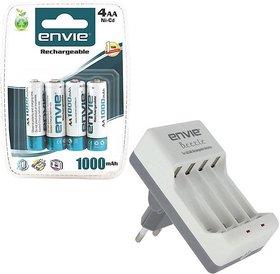 ENVIE 4XAA 1000mAh Ni-CD AA Rechargeable Battery Cell + AA / AAA Charger