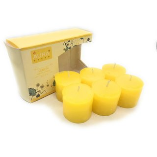 AuraDecor Set of 6 Lemon Fragrance Votive Candle