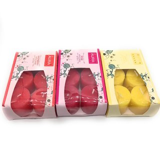 AuraDecor Set of Fragrance Votive Candles ( Rose , Rasberry , Lemon )