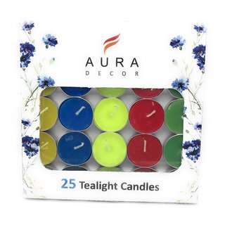 AuraDecor Pack of 25 Multi Colour Tealight Candles