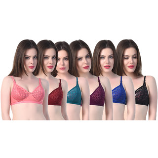 Pack Of 6 SK Dreams Multicolor Non- Padded Bra