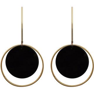 JewelMaze Black Acrylic Dangler Earrings - 1314004D