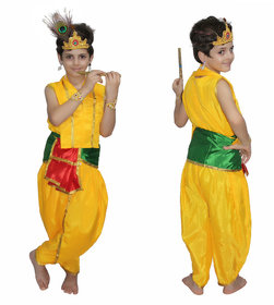 Kaku Fancy Dresses Bal Krishna Costume For Kids Krishnaleela/Janmashtami/Kanha/Mythological Character For Kids School Annual function/Theme Party/Competition/Stage Shows Dress
