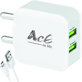 AcE(2.1AMP+1AMP) High Speed 2 USB Charger for LAVA (ACE-2603)