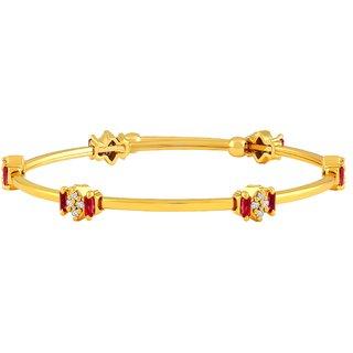 Asmitta Pretty Designer Gold Plated Pink  White AD Stone Openable Brass Kada For Women
