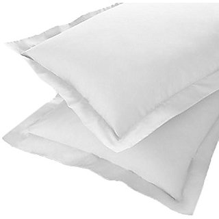 M.I.N.D.E.R New Sweet Home Linen 100  Pure Cotton Super Ultra White Pillow Covers / Pillow case ( Pack Of 2 )