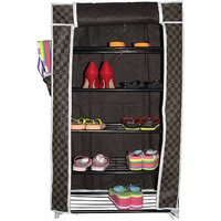 House Of Quirk 5 Layer Shoe Rack With Natural Modern Metal Glossy Finish (84 x 55 x 27 cm)