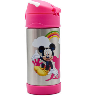 Stainless Steel Flask Sports Straw Sipper/Bottle, Pink, 350ml - Mickey/Minnie (Assorted Print)