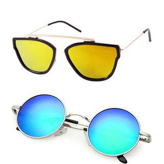 Derry Combo of Blue Mirrored Round And Orange Rectangular Sunglasses