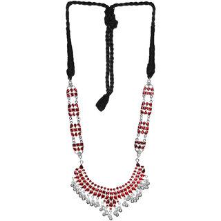 Cemaya Enamel Long U shaped Ethnic Rope Necklace(Red)
