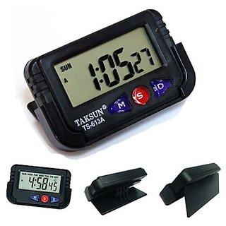 De Autocare Digital Car Vehicle Dashboard Alarm Clock LCD Stop Watch
