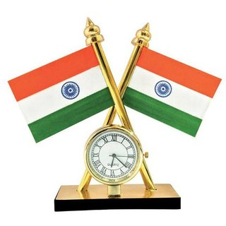 De Autocare Indian Flag with Quartz Watch for Table / Car Dashboard  Official Purpose
