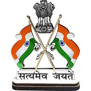 Voila Presents India Satyamev Jayate Symbol Dual Side Print Double Sided Wind Car Dashboard Flag (Plastic)