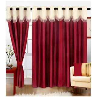 Cloud India 7 Ft Door Crush Less Curtains Set Of 3 Piece Polyster Living Room  Bed Room Curtains With Attractive Color