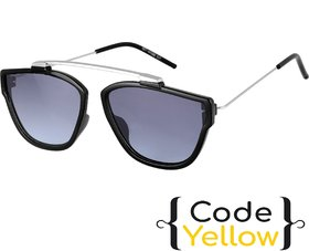 Code Yellow UV Protected Black Wayfarer Full Rim Sunglasses For Men & Women