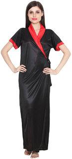 Rock Hudson Women's Nightwear - Half Sleevless - Full Length Rob - Plain Satin Fabric - Black
