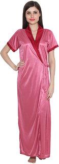 Rock Hudson Women's Nightwear - Half Sleevless - Full Length Rob - Plain Satin Fabric - Pink
