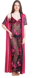 Rock Hudson Women's Nightwear - Full Length - Embrodery Net & Satin Fabric - With Rob - Pink