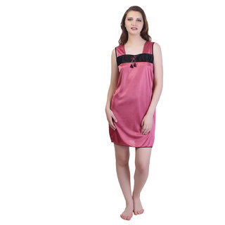 4806bad87 Buy Rock Hudson Women s Nightwear - Short Length - Plain Satin Fabric with  Black Fabric Detailing - Peach Online - Get 55% Off