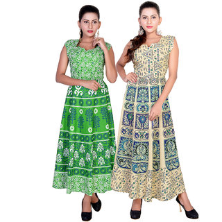 0b38a0ec Eagle Eye Outfitters Women's Long Dress Jaipuri Face Print Cotton (Combo  2PIC) Multicolor, up to XXL
