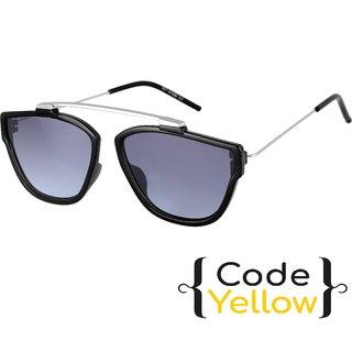Code Yellow UV Protected Black Wayfarer Sunglasses For Men And Women