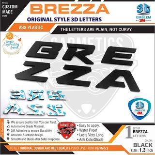Maruti suzuki brezza accessories 3d letters stickers Glossy black 1 set Carmetics