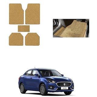 KunjZone Anti Skid Curly/Grass Car Foot Mat (Beige) Set of 5 For -Maruti Suzuki Swift Dzire