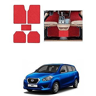 KunjZone Anti Skid Curly/Grass Car Foot Mat (Red) Set of 5 For -Ford Fusion