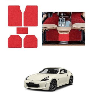 KunjZone Anti Skid Curly/Grass Car Foot Mat (Red) Set of 5 For -Nissan 370z