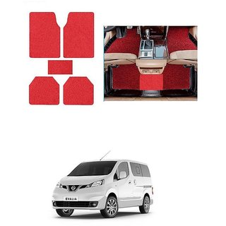 KunjZone Anti Skid Curly/Grass Car Foot Mat (Red) Set of 5 For -Nissan Evalia