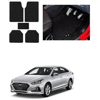 KunjZone Anti Skid Curly/Grass Car Foot Mat (Black) Set of 5 For -Hyundai Sonata