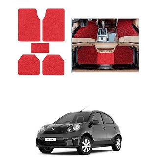 KunjZone Anti Skid Curly/Grass Car Foot Mat (Red) Set of 5 For -Nissan Micra Active