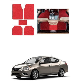 KunjZone Anti Skid Curly/Grass Car Foot Mat (Red) Set of 5 For -Nissan Sunny