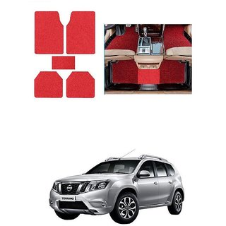 KunjZone Anti Skid Curly/Grass Car Foot Mat (Red) Set of 5 For -Nissan Terrano