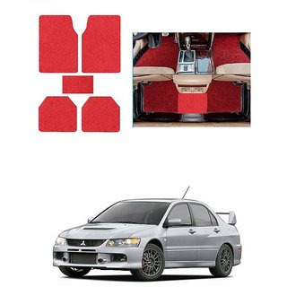 KunjZone Anti Skid Curly/Grass Car Foot Mat (Red) Set of 5 For -Mitsubishi Lancer
