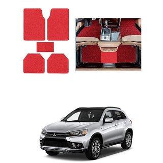 KunjZone Anti Skid Curly/Grass Car Foot Mat (Red) Set of 5 For -Mitsubishi Outlander
