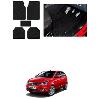 KunjZone Anti Skid Curly/Grass Car Foot Mat (Black) Set of 5 For -Tata Bolt