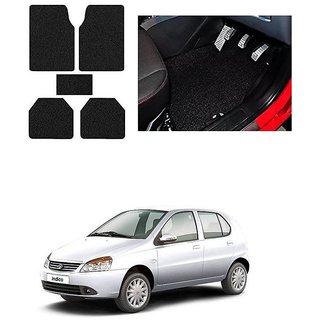 KunjZone Anti Skid Curly/Grass Car Foot Mat (Black) Set of 5 For -Tata Indica