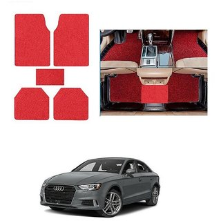 KunjZone Anti Skid Curly/Grass Car Foot Mat (Red) Set of 5 For -Audi A3